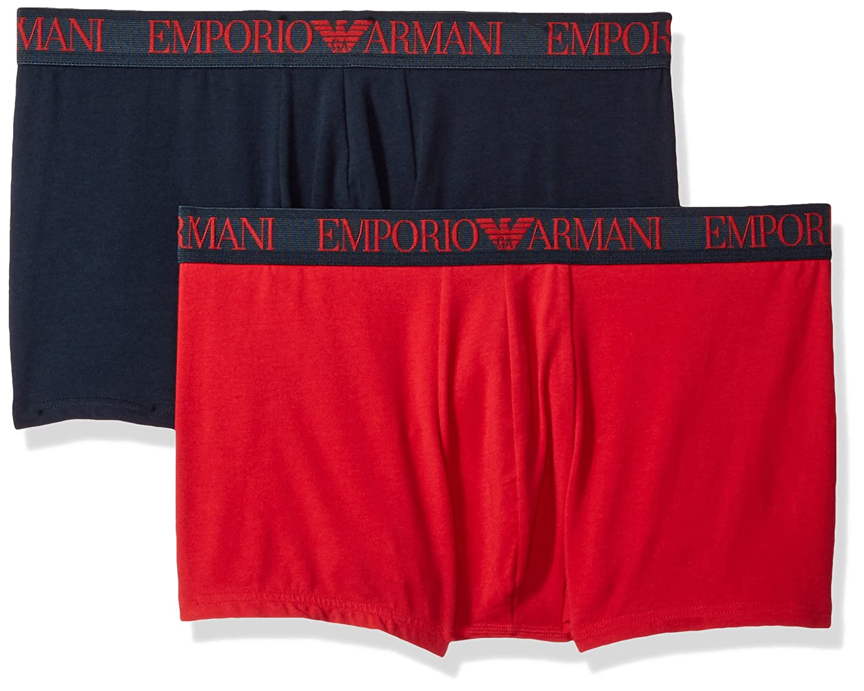 Boxer Tronchi Da Uomo Di Emporio Armani Resistenza 2-pack Cotone Stretch, Navy/rosso