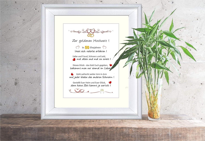 Goldene Hochzeit Liebevoll Gestalteter Personalisierter Kunstdruck Als Glückwunsch Und Geschenk Zur Goldenen Hochzeit 24 X 30 Cm Mit Passepartout