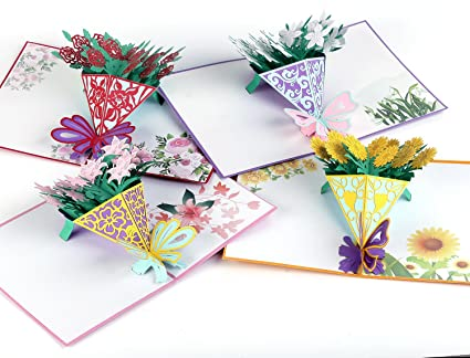 Amazon flowers pop up gift cards 3d greeting handmade bunch of flowers pop up gift cards 3d greeting handmade bunch of lilies roses sunflowers mightylinksfo