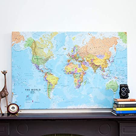 Maps International Canvas World Map Political 121.9cm (w) x 81.3cm ...