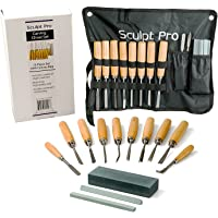Wood Carving Chisel Set- 13 pc Professional Wood Carving Tools with Carrying Case by Sculpt Pro
