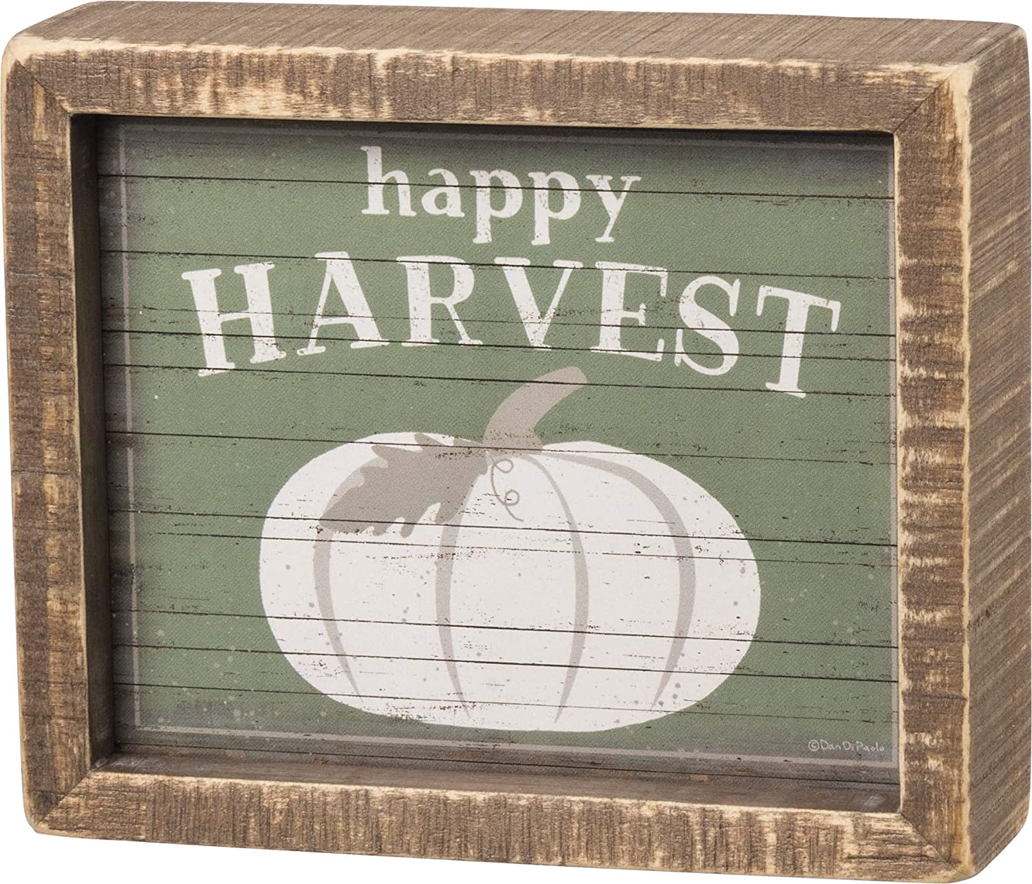 Primitives by Kathy Inset Box Sign, 6 x 5-Inch, Green - Happy Harvest