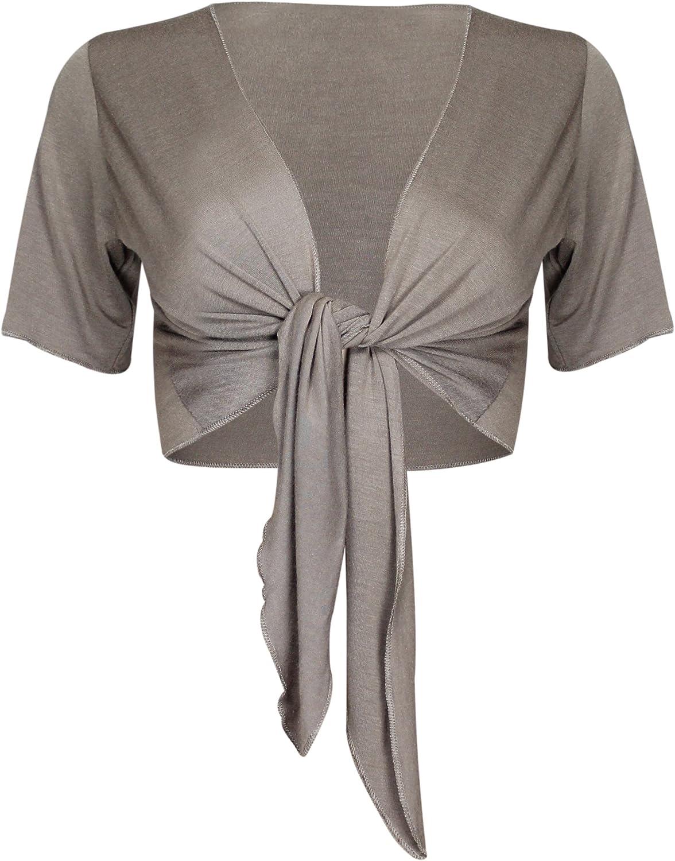 36-38 moka Purple Hanger Bol/éro Femmes Uni Attache Devant R/églable Manche Courte Gilet Epaulette Neuf