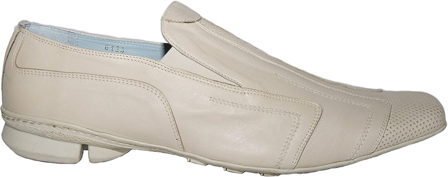 Ernesto Dollani 6133 Italian Mens Beige Slip on Shoes with Design on a Rubber Sole