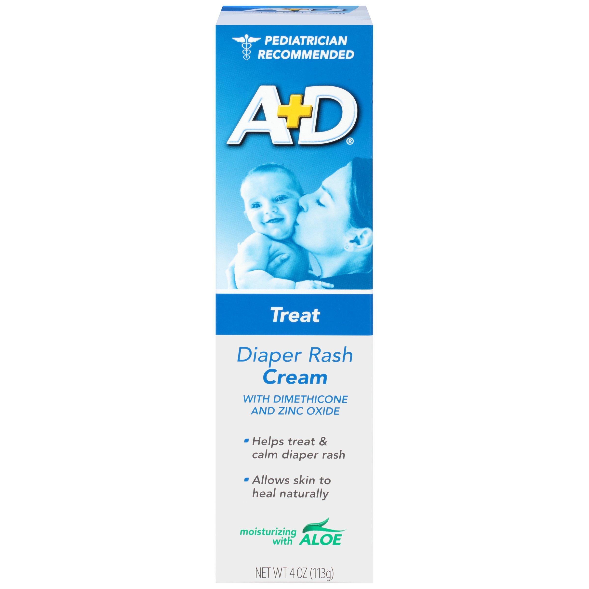 A+D Diaper Rash Cream, Dimethicone Zinc Oxide Cream, 4 oz (113 g) (Pack of 4)