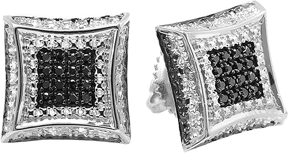 Sterling Silver Round Pave-set Diamond Square Cluster Earrings 0.32 Cttw