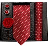 nu-Lite Formal/Casual Printed Polyester Necktie Set with Pocket Square, Lapel Pin and Cufflinks for Men (Free Size, Red)