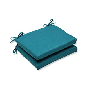 Pillow Perfect Outdoor Rave Teal Squared Corners Seat Cushion, Set of 2