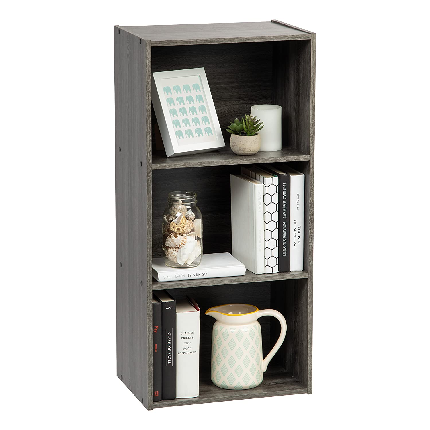 IRIS USA, Inc. 596333 TSB-3 3-Tier Wood Storage Shelf, Gray