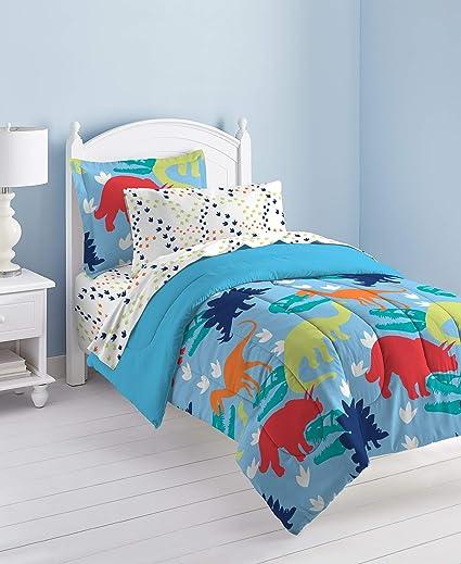 Amazoncom Dream Factory Dinosaur Prints Boys Comforter Set Multi