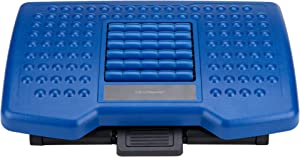 Mind Reader Adjustable Height Foot Rest with Rollers for Massage, Blue