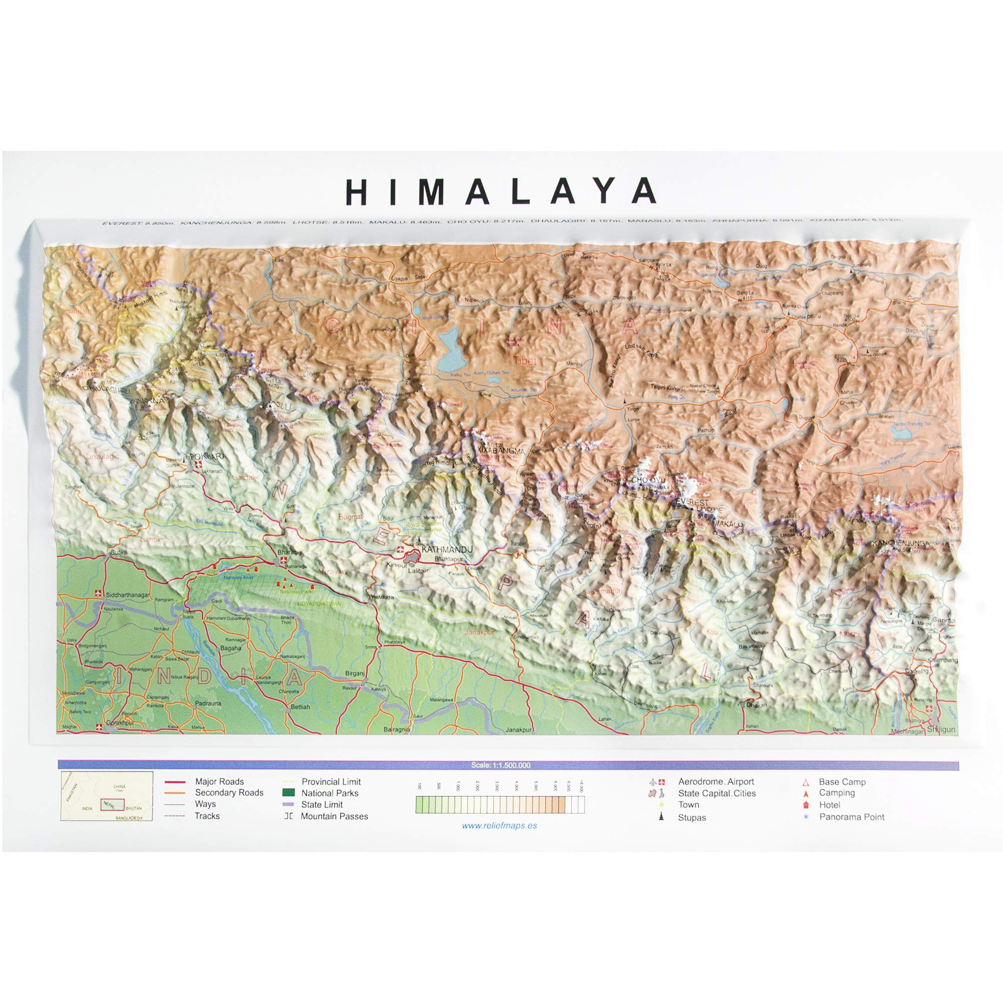 Mapa en relieve del Himalaya: Escala gráfica: Amazon.es: All 3D ...