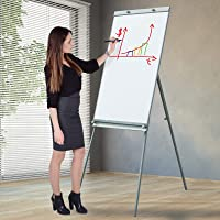 Chevalet de Conférence   Magnétique, 65 x 90 cm, Effaçable, avec Trépied Hauteur Reglable, Cadre en Aluminium   Paperboard, Flipchart, Tableau Magnétique Blanc