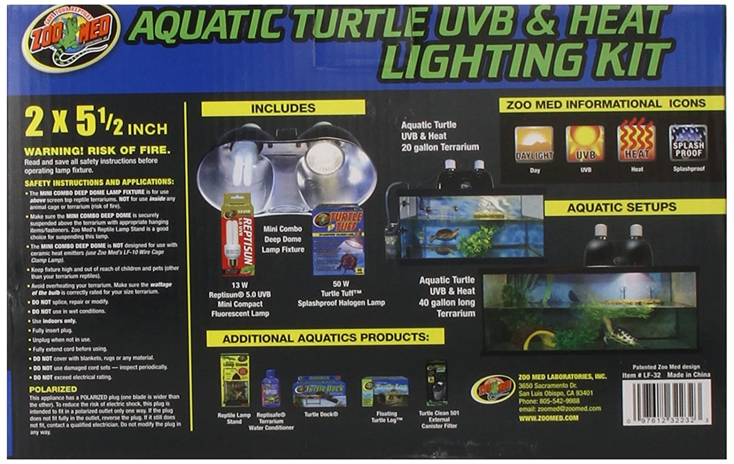 Amazon.com : Zoo Med Aquatic Turtle Uvb U0026 Heat Lighting Kit : Pet Habitat Heat  Lamps : Pet Supplies