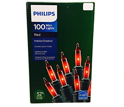philips 100 red mini string lights energy star 247 ft on green wire christmas valentines patio