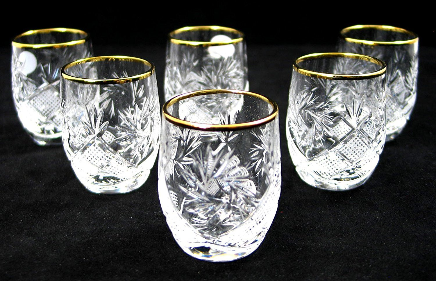 SET of 6 Russian Cut Crystal Shot Shooter Glasses 24K Gold Rimmed 1.7 Oz. Vodka Liquor Old-fashioned Glassware Hand Made