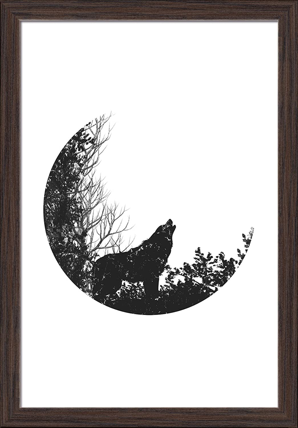 24x36 Giclee Art Print, Gallery Framed, Espresso Wood Patterned Bear Family