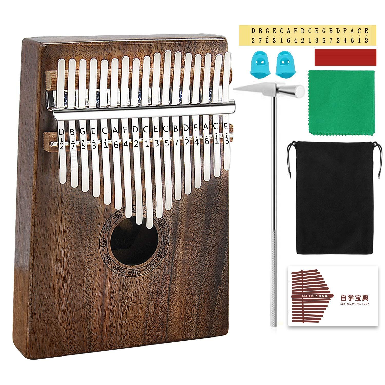 AXHJ Kalimba 17 keys with Study Instruction and Tune Hammer, Portable Thumb Piano Mbira Sanza Acacia Koa Wood Body Ore Metal Tines