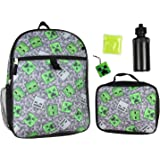 """Minecraft Creeper Ghoul 16"""" School Backpack and Lunch Kit 5pc Set"""
