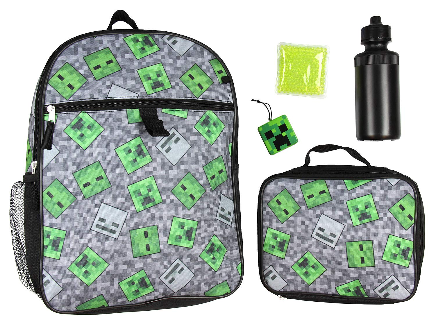 Minecraft Creeper Ghoul 16'' School Backpack and Lunch Kit 5pc Set