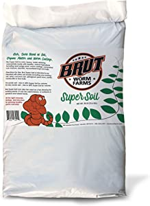 Brut Super Soil - 30lb - Rich, Dark Natural Blend of Soil, Organic Matter and Worm Castings. Use Indoors or Outdoors. Non-Toxic and Odor Free.