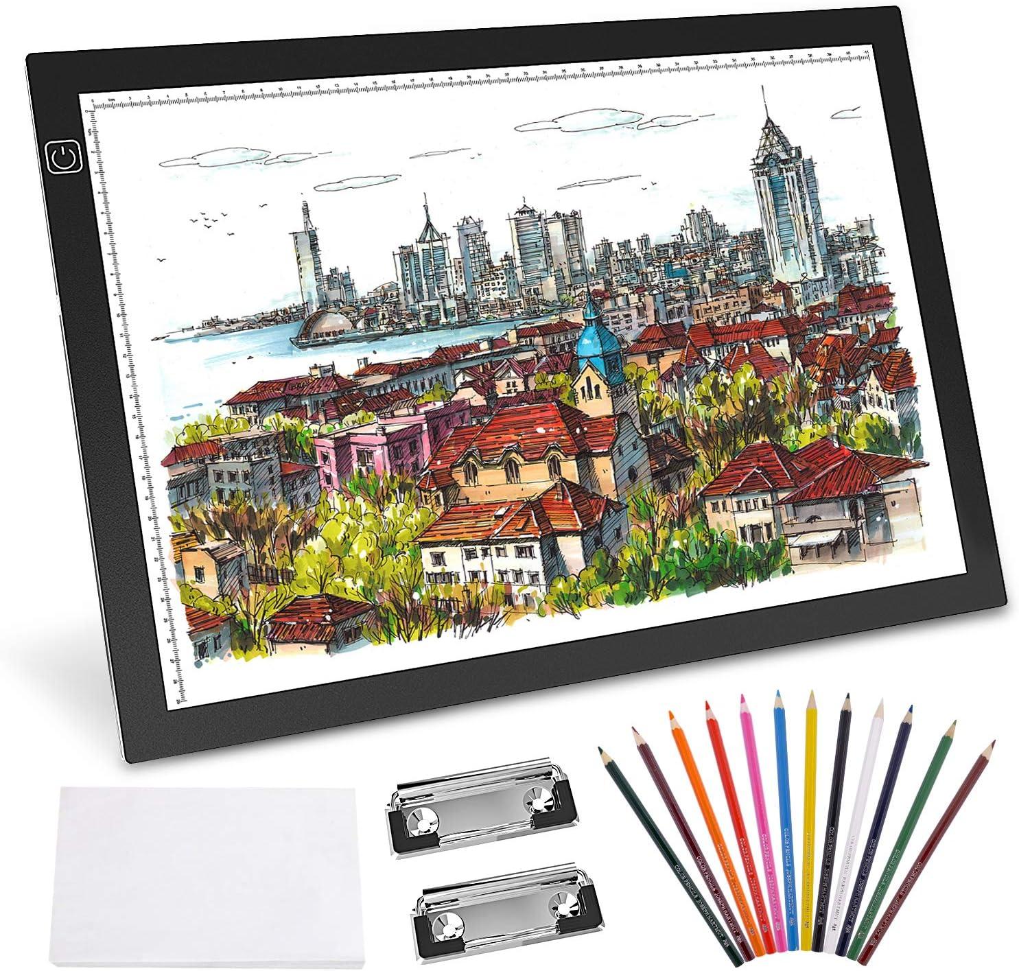Gvoo A3 - Mesa luminosa LED, caja de luz LED, ultrafina, control táctil y brillo ajustable para dibujar, esbozar, superficie de dibujo, caligrafía: Amazon.es: Hogar