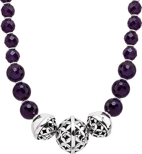 Genuine Italian 925 Sterling Silver Ladies Bracelet Imitation Amethyst Beads