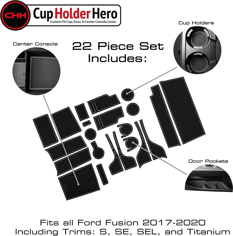 CupHolderHero fits Ford Fusion Accessories 2017-2020 Premium Custom Interior Non-Slip Anti Dust Cup Holder Inserts Door Pocket Liners 22-pc Set Blue Trim Center Console Liner Mats