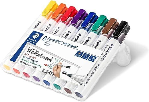 STAEDTLER 351WP8 Rotuladores para pizarra blanca Lumocolor, inodoro, secado rápido y recargable, paquete de 8 unidades, Multicolor: Amazon.es: Oficina y papelería