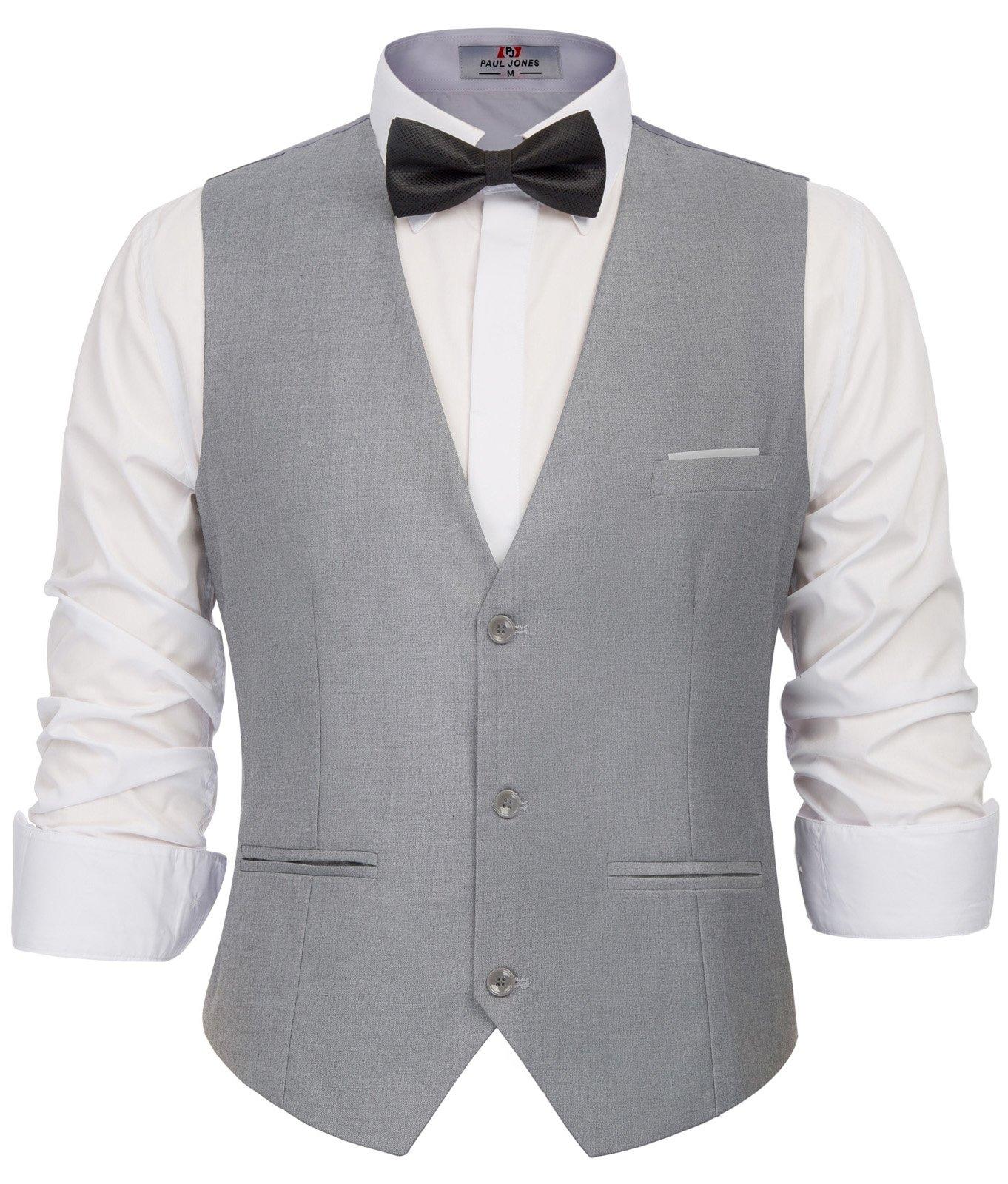 PAUL JONES Men's V-Neck Sleeveless Slim Fit Jacket Grey Casual Suit Vests