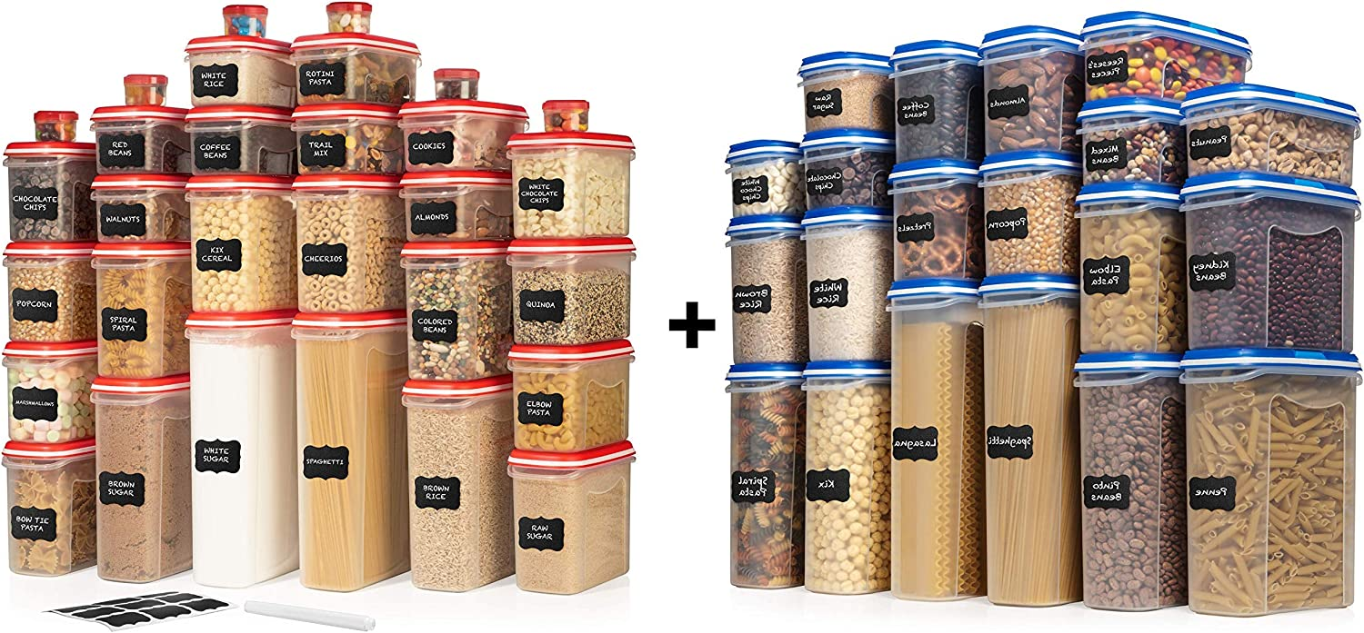ULTIMATE LARGEST Set of 40 Pc Food Storage Containers (20 Container Set) Blue and LARGEST Set of 30 Pc Food Storage Containers (15 Container Set) Red