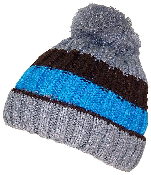 bf6263b8a58 Best Winter Hats Boys Striped Fleece Lined Pom Pom Cuffed Beanie (One Size)  -