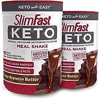 Deals on 2Pk SlimFast Keto Meal Fudge Brownie Batter Canister 13.4Oz