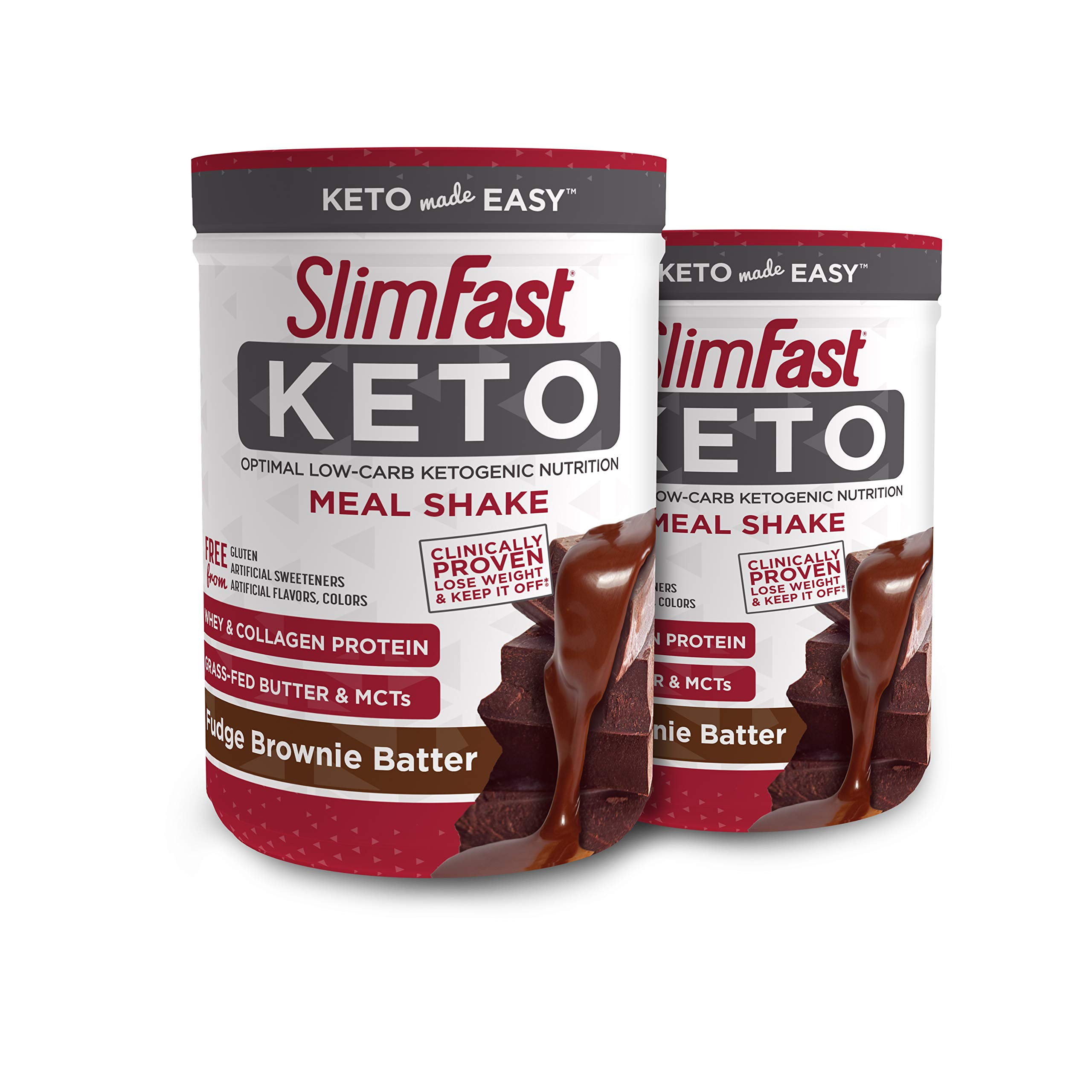 Slimfast Keto Meal Replacement Powder Fudge Brownie Batter, (20 Servings), 2 Count - Pack of 2 Canisters by SlimFast