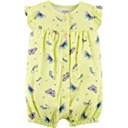 Carter's Baby Girls' Ground Rainbow Snap Up Cotton Romper (3 Months, Yellow Butterfly)