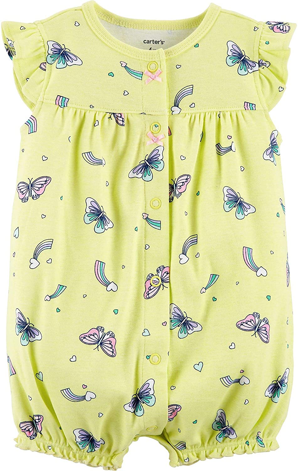 Carters Baby Girls Printed Chambray Romper