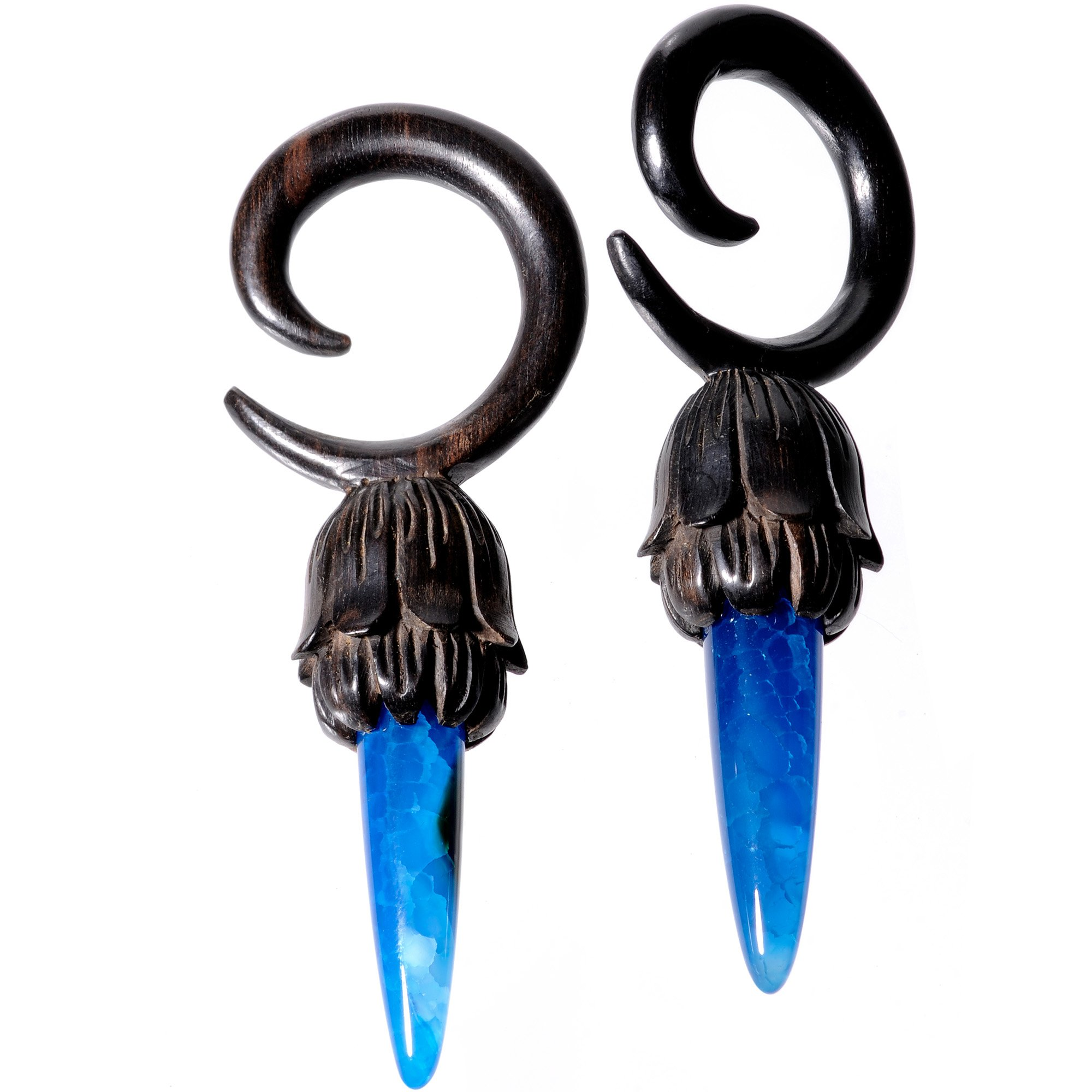 Body Candy 2Pc 4G Blue Stone Iron Wood Tribal Spiral Taper Set Stretching Kit Tapered Ear Gauges Ear Hangers Weights 5mm by Body Candy