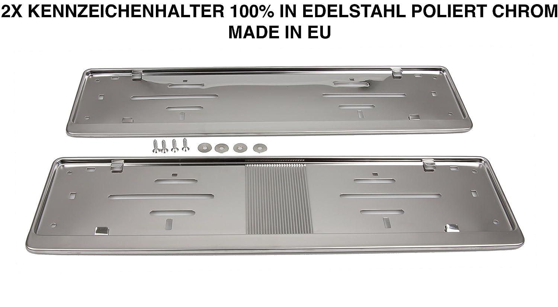 2x Top Nummernschildhalter Kennzeichenhalter 100% Edelstahl poliert ...