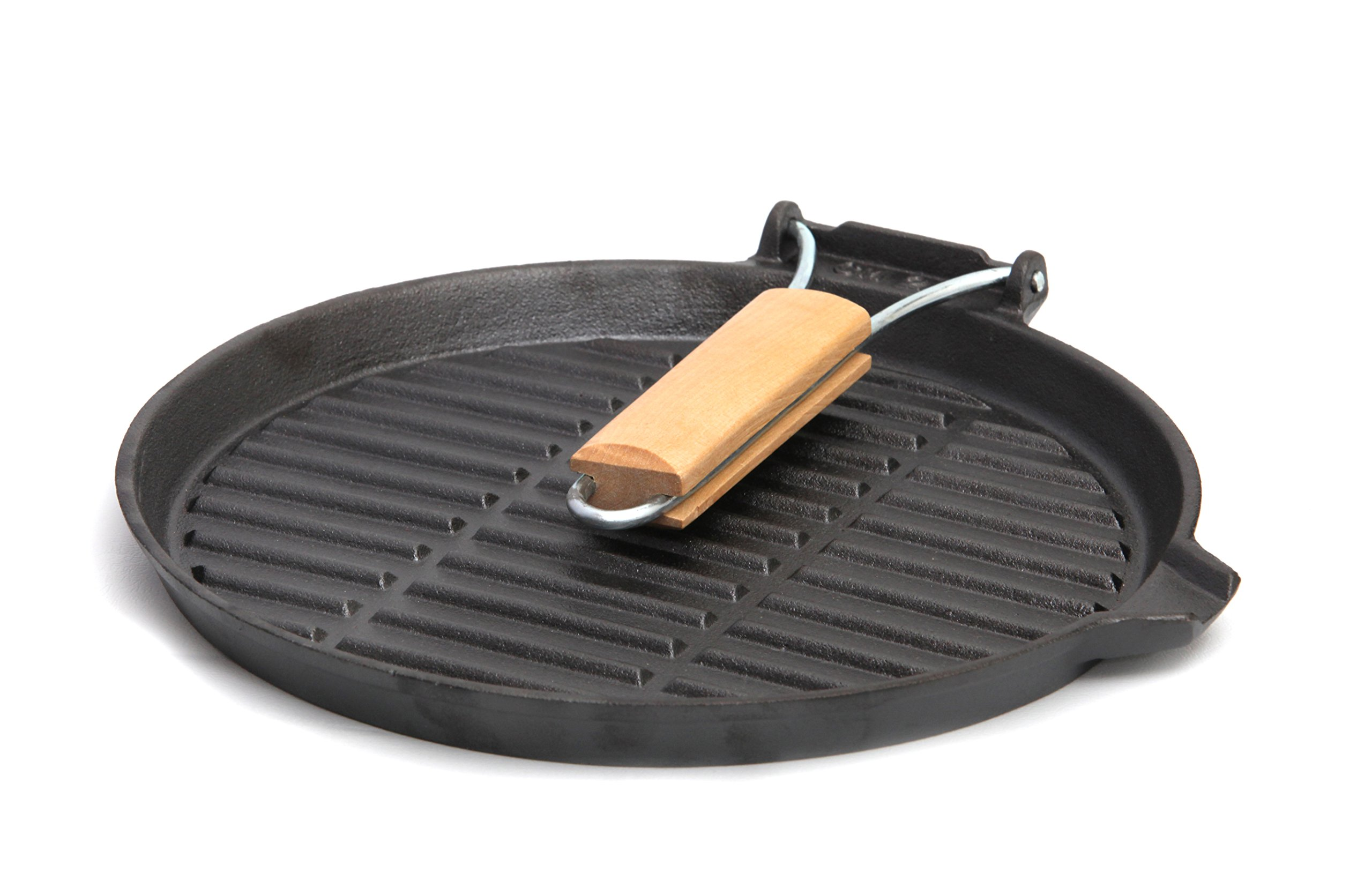GURO Cast Iron Pre-Seasoned Round Griddle Fry Pan with Wooden Handle, 9.8''