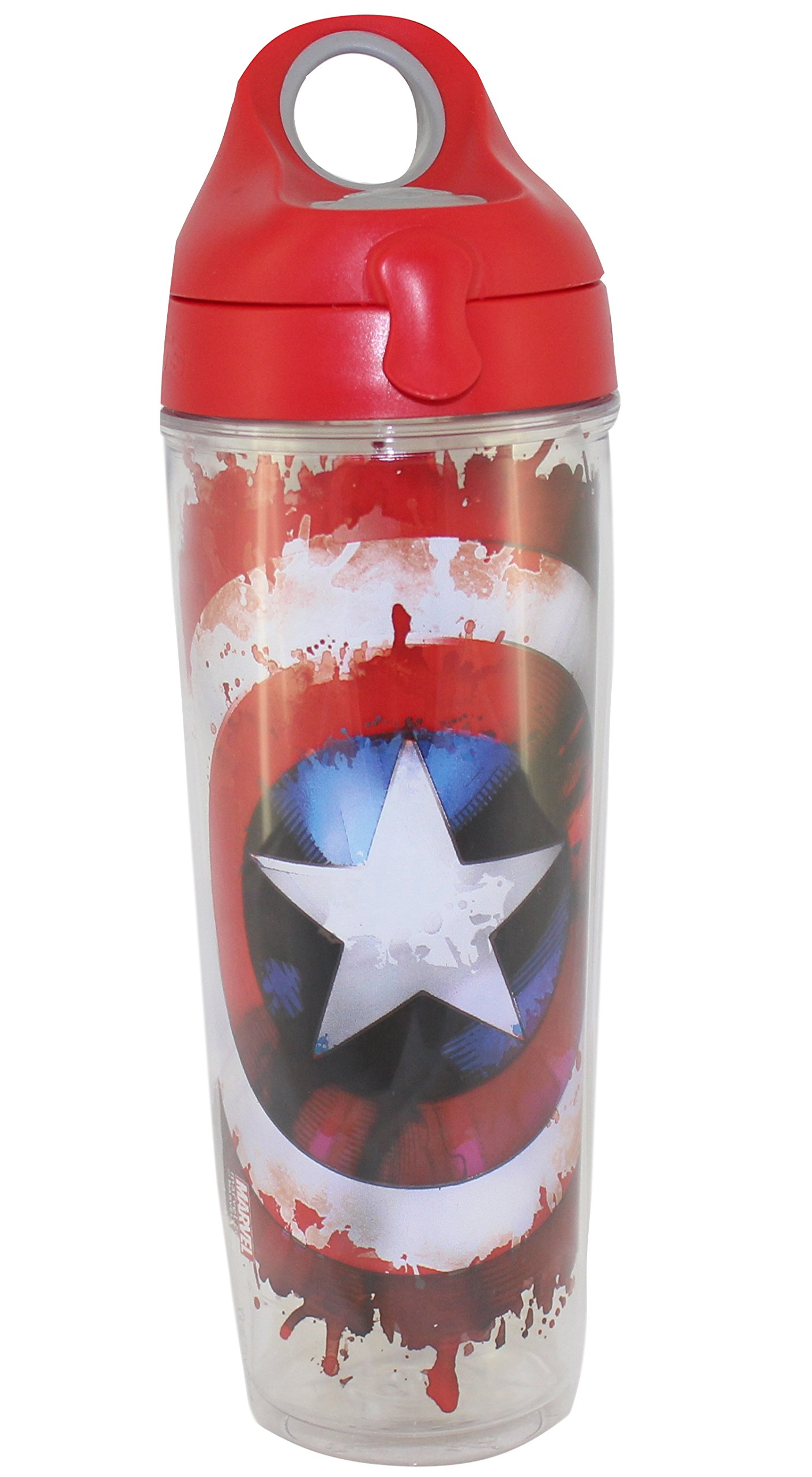 Tervis Marvel Captain America Shield Wrap Water Bottle with Red Wb Lid, 24 OZ
