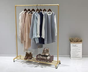 WGX Design For You Industrial Pipe Clothing Rack Garment Rack Pipeline Vintage Pipe Rack Closet Organizer Steampunk Decor a Rack (Gold)
