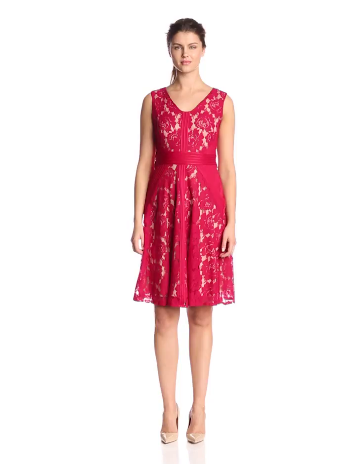 Julian Taylor Women's Sleeveless V Neck Lace Dress, Red/Nude, 8