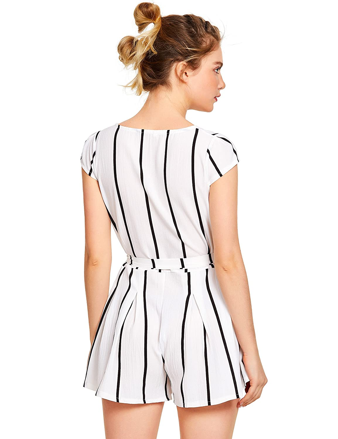 ed8c1626870 Romwe Womens Casual Vertical Striped Jumpsuit Romper with Belt ...
