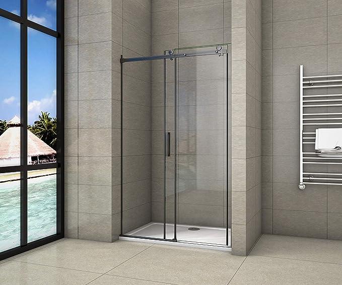 AICA - Puerta corredera de ducha de 200 cm, perfil negro mate, cristal templado de 8 mm, antical: Amazon.es: Bricolaje y herramientas