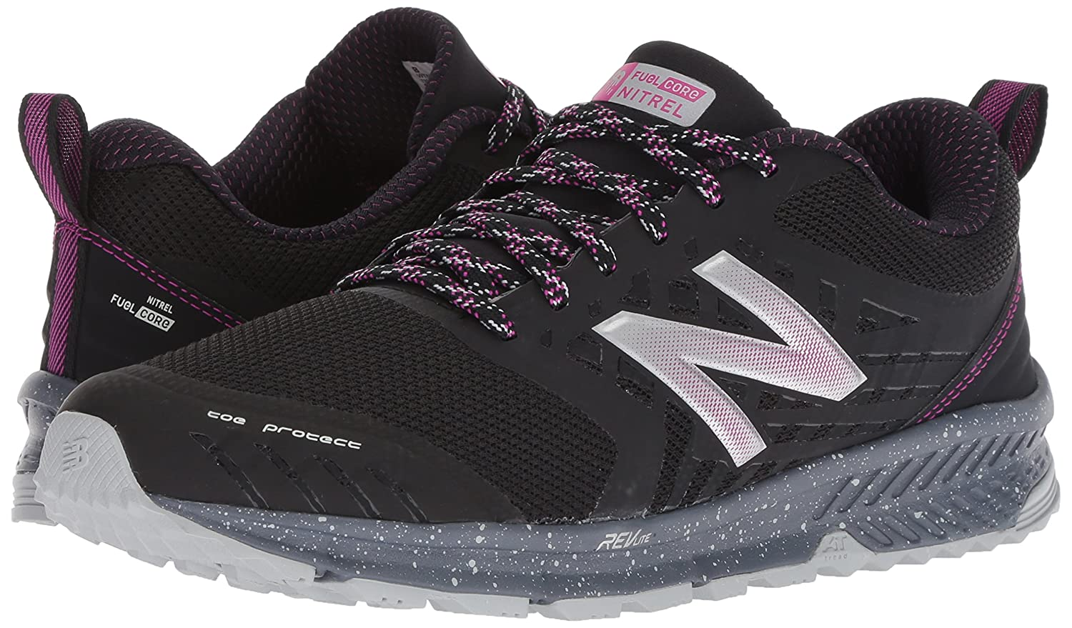 New Balance Trail Women's Nitrel v1 FuelCore Trail Balance Running Shoe B072QCXMFX 10.5 D US|Black/Poison Berry 183393