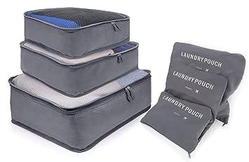 MyGadget Organizador de Viaje 3 Cubos de Embalaje + 3 Bolsas de Almacenamiento - Organizadores de Maleta para Ropa Medias Zapatos Cosméticos en Gris