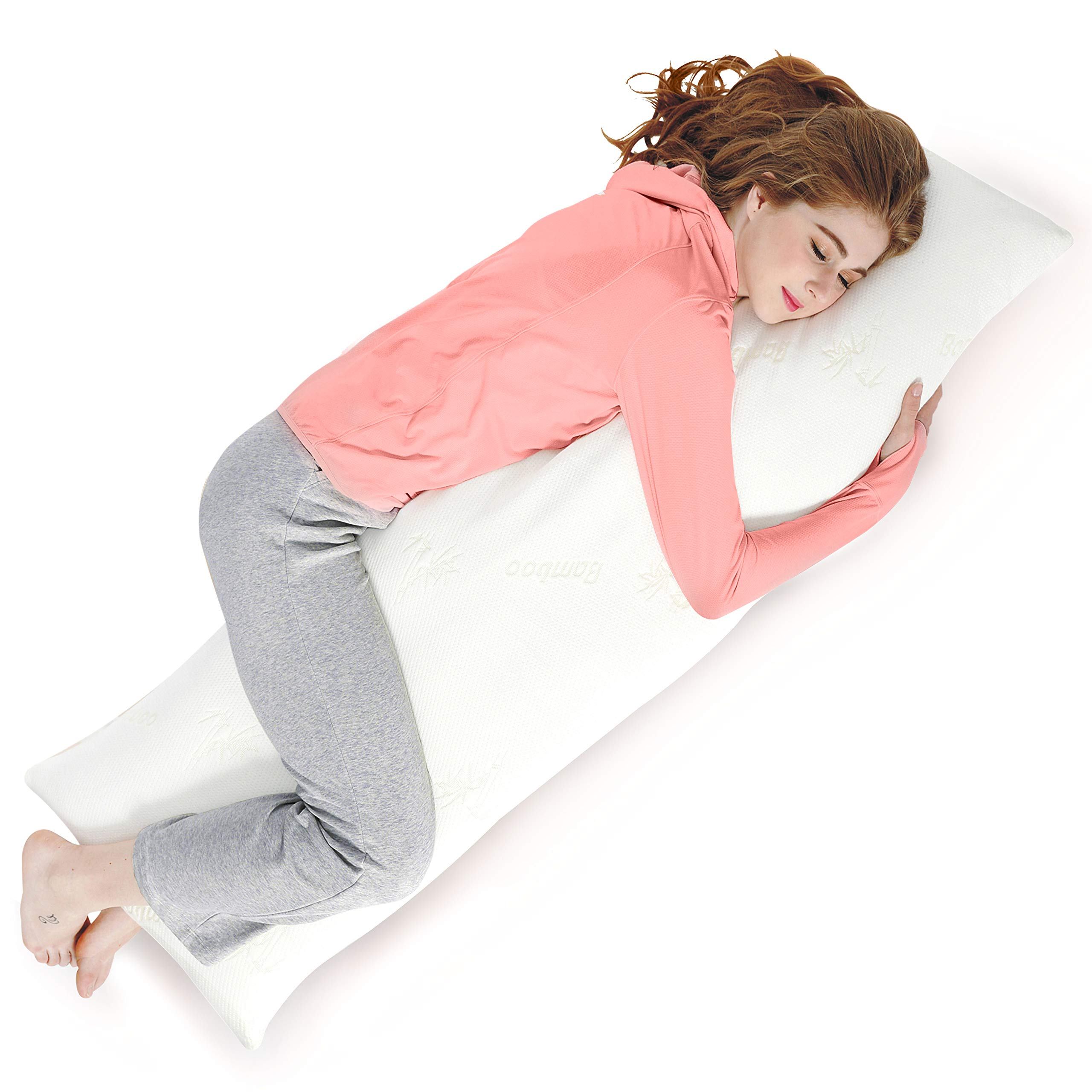 AmazingDreams Full Body Pillow - Side Sleeper Pillow and Pregnancy Pillow with Washable Bamboo Cover