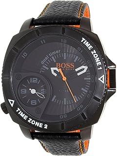 Hugo Boss Mens Orange 1513221 Black Leather Quartz Watch