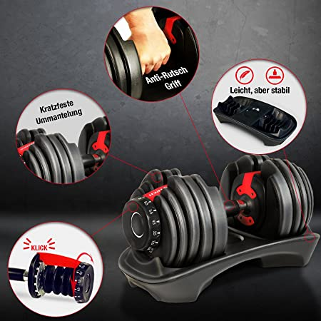 ... Adjustable 15In1 With Innovative Click System From 1 To 24 KgWith Safety Gear Ring And Anti-Slip Grab Bar 15 Dumbbells With Base. Individually Or In Set ...