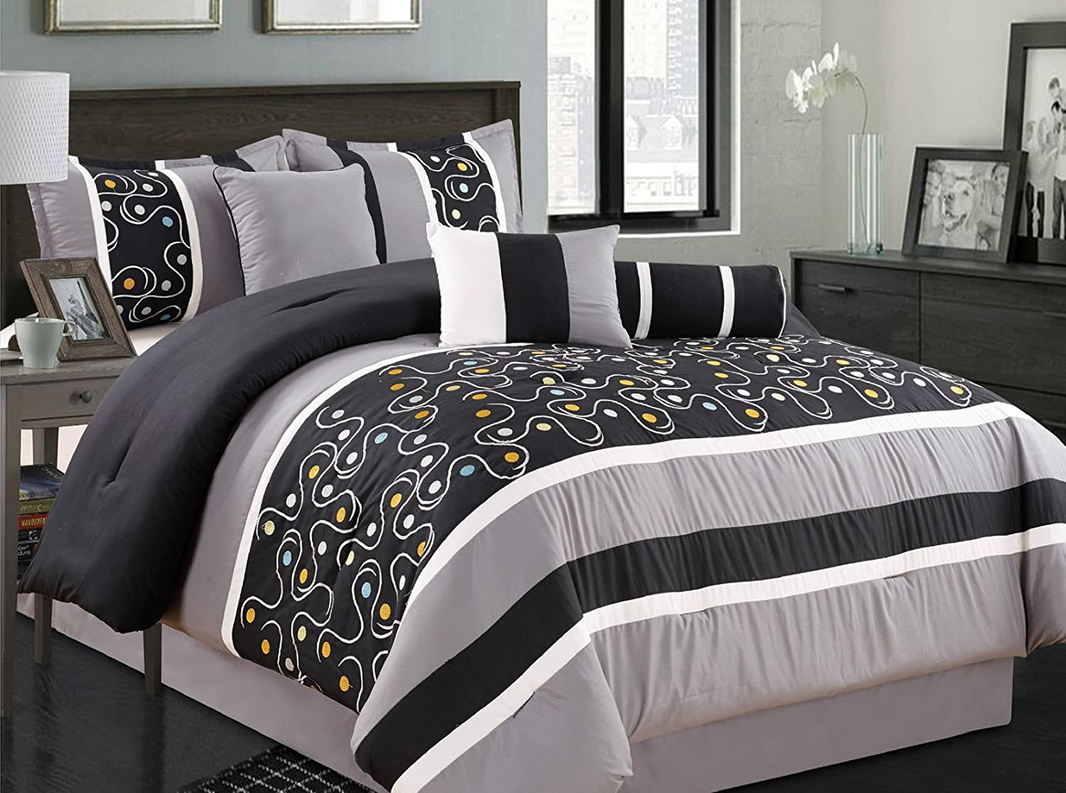Dylan 7 Piece Embroidered Comforter Set Colorful Black & Gray
